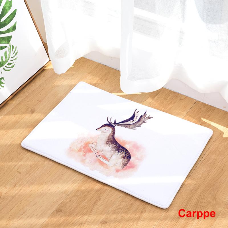 Flannel Floor Mats Nature Song Printed Bedroom Living Room Carpets Cartoon Bear Pattern Mat For Hallway Anti Slip Tapete Us874