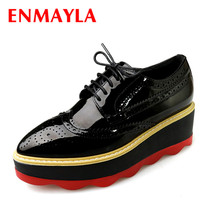 ENMAYLA Spring Casual White Shoes Woman Mixed Colors Flat Platform Brogue Shoes Womens Wedges Heels Lace up Oxford Shoes Women