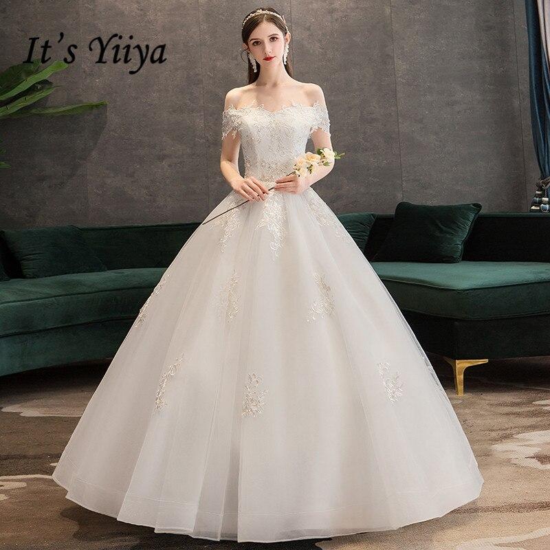 It's YiiYa Wedding Dress Appliques Beading Crystal Princess Bridal Ball Gown Boat Neck Embroidery Long wedding dresses HS330