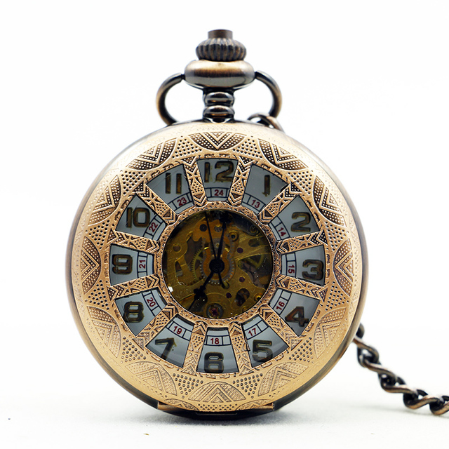 10pcs/lot 1174 Steampunk Vintage Copper Hand-wind Mechanical Pocket Watch Skelet