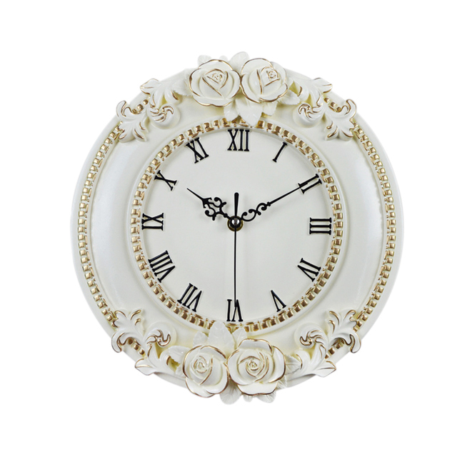 A Creative Resin Craft Rose flower European Decorative Digital Wall Clock Quiet Room Clock Hotel Restaurant Decoration