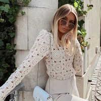 Nouveau vintage femmes beige dentelle chemises 2019 mode dames tricoté à manches longues floral blouses filles évider slim hauts femme chic