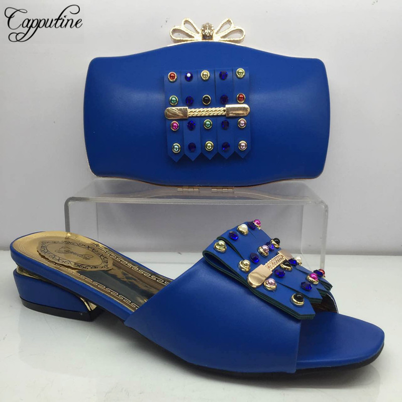 Nigeria Style Ladies PU Leather Low Heels Shoes And Bag Set For Fashion Dress Hot Sale
