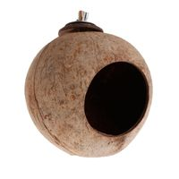 OOTDTY Parrot Nest Natural Coconut Shell House Cage Feeder Parakeet   Birds   Squirrel Hamster Toys Pet Breed Decor   Supply     Bird   Toy