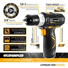 DEKO GCD12DU3 12V Max Electric Screwdriver Cordless Drill Mini Wireless Power Driver DC Lithium-Ion Battery 3/8-Inch 2-Speed