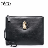 High Quality Luxury Gold Chess Horse Head Genuine Leather Casual Men Handbag Envelope Bags Clutch Bag