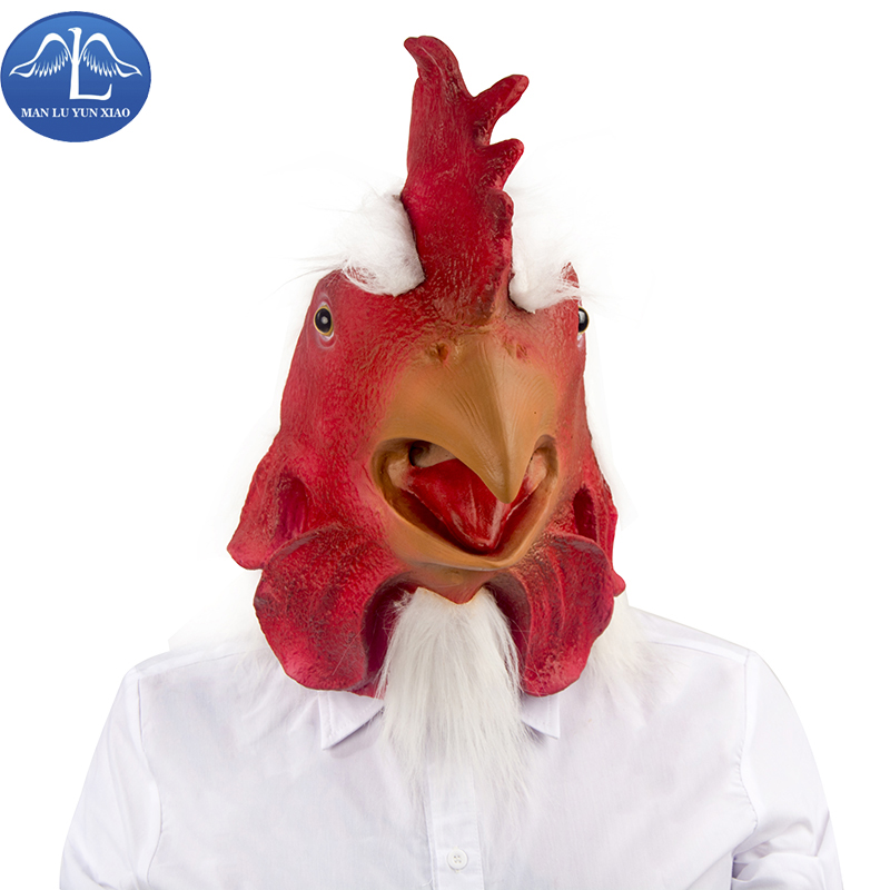 MANLUYUNXIAO New Arrival Funny Chicken Mask Halloween Party Masquerade Animal Head Latex Masks Wholesale