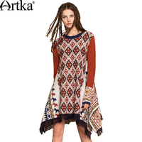 Artka 2018 Women S Wool Pullover Sweater Vintage Tassel Poncho Female Long Cape Jumper Asymmetrical Bohemian