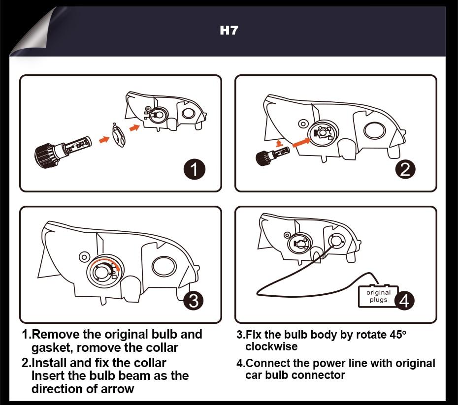 CNSUNNYLIGHT ECE Car LED Headlight Bulbs H7 H4 H11 H8 9005 9006 H1 H3 880 H13 9004 9007 12000LM White 12V Auto Head Fog Lights  (6)