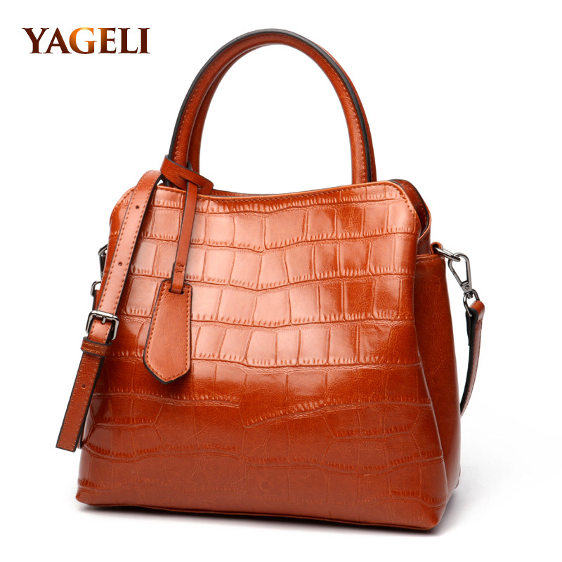 YAGELI brand cow leather alligator women's handbag genuine leather lady tote bags luxury handbags women  crossbody bags designer our reality 1 amasie genuine alligator leather vintage fashion lady women handbag brand designer woman casual tote egt0206