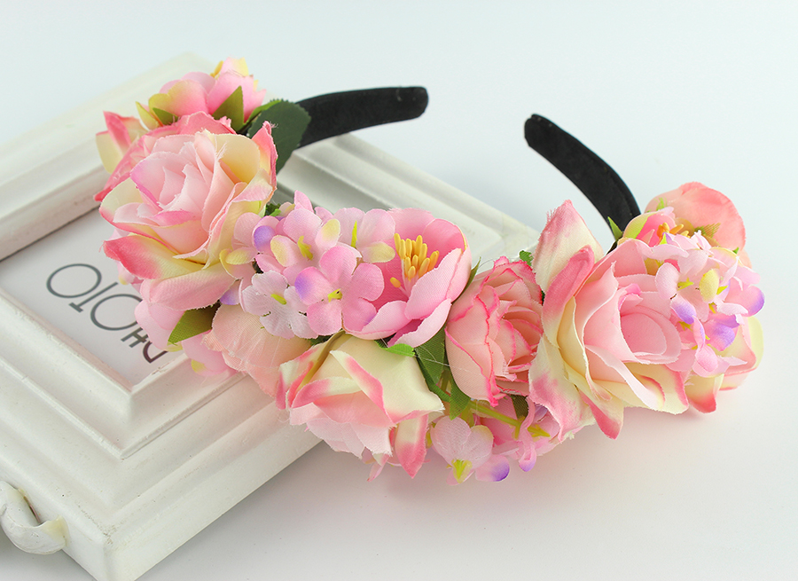 yellow purple summer style flower Headband Wedding Bridal Travel seaside photography headband hairpins hair accessories