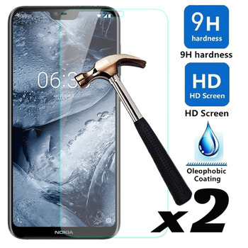 2 x 9H HD Tempered Glass Screen Protector Explosion-proof Bubble Free Front Guard Films For Microsoft Nokia X6 / 6.1 Plus (2018)