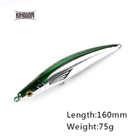 Kingdom Sea Fishing Lure 160mm/75g Arfiticial Hard Bait Wobblers Sinking Action One Through Wire 5 Colors Available Model 6508