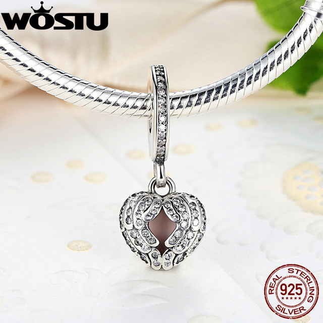 Genuine 925 Sterling Silver Angel Wings Charm With Clear CZ Fit Original Pandora Bracelet Necklace Authentic Jewelry Gift