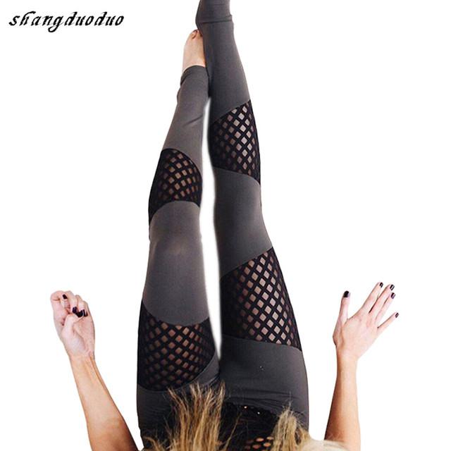 New Fashion Sexy fitness legging Mesh patchwork athleisure Slim leggings pants Jeggings elastic leggings for women