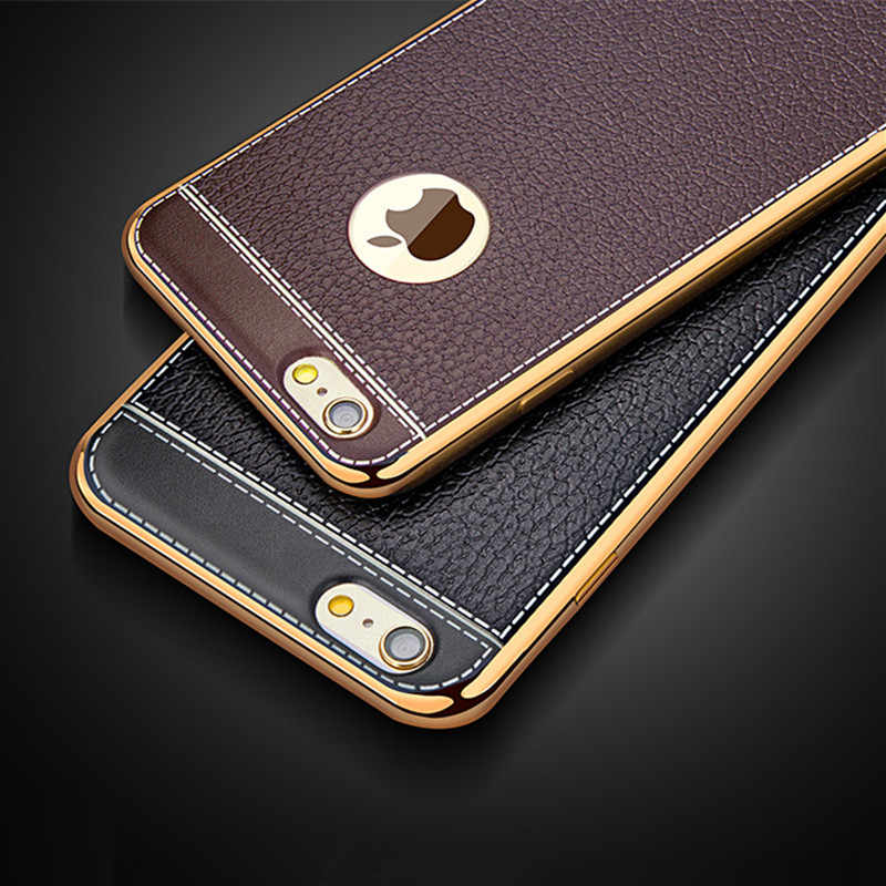 Phone Case For iPhone 5 5S SE 6 6S 7 Plus 8 Plus X XR XS MAX Ultra Slim vintage Leather fashion Plating Soft TPU Silicone Cover