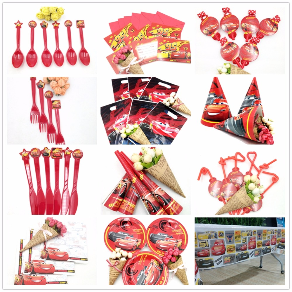 Disney Cars Lightning Mcqueen Happy Birthday Kids Party Decorations Decoration Supplies Baby Favor