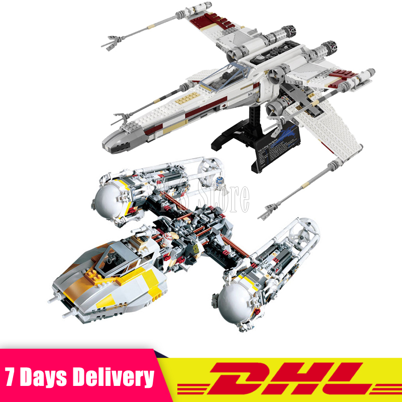DHL IN Stock LEPIN 05039 UCS The Rebel Red Five X-wing Starfighter +05040 Y Star Wing Attack Building Blocks Clone 10134 10240 lepin 05040 y attack starfighter wing building block assembled brick star series war toys compatible with 10134 educational gift