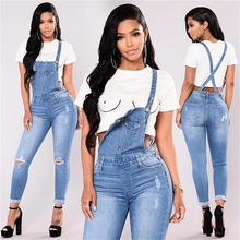 Kobiety moda Hole kombinezon denimowe fartuchy jesienno zimowa z niebieskim paskiem z rozdarciami i kieszeniami spodnie do kostek dżinsy kombinezon