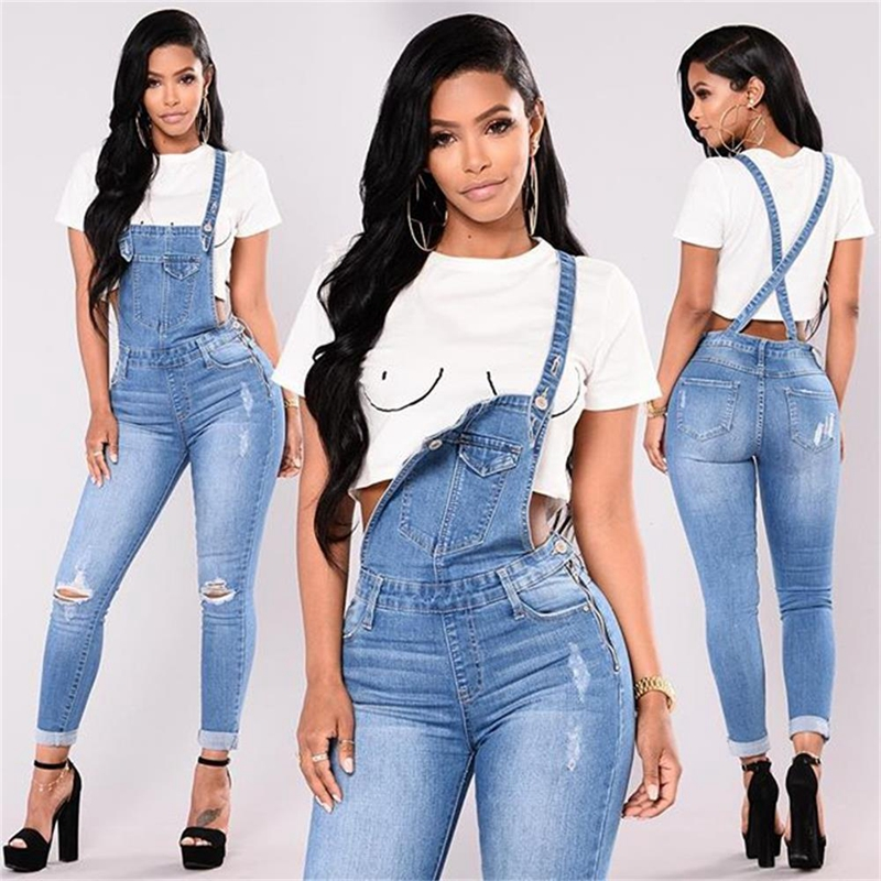 Women Fashion Hole Jumpsuit Denim Overalls Autumn Winter Blue Strap Ripped Pockets Ankle-Length Pants Denim Jeans Jumpsuit