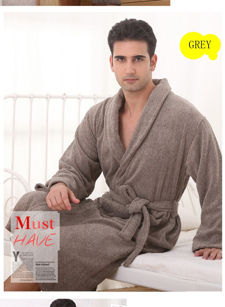 f2fdd0fc79 Cotton Men Bathrobe winter Plus size XXL nightgown blanket sleepwear towel  fleece bathrobe thick lovers long super soft robe