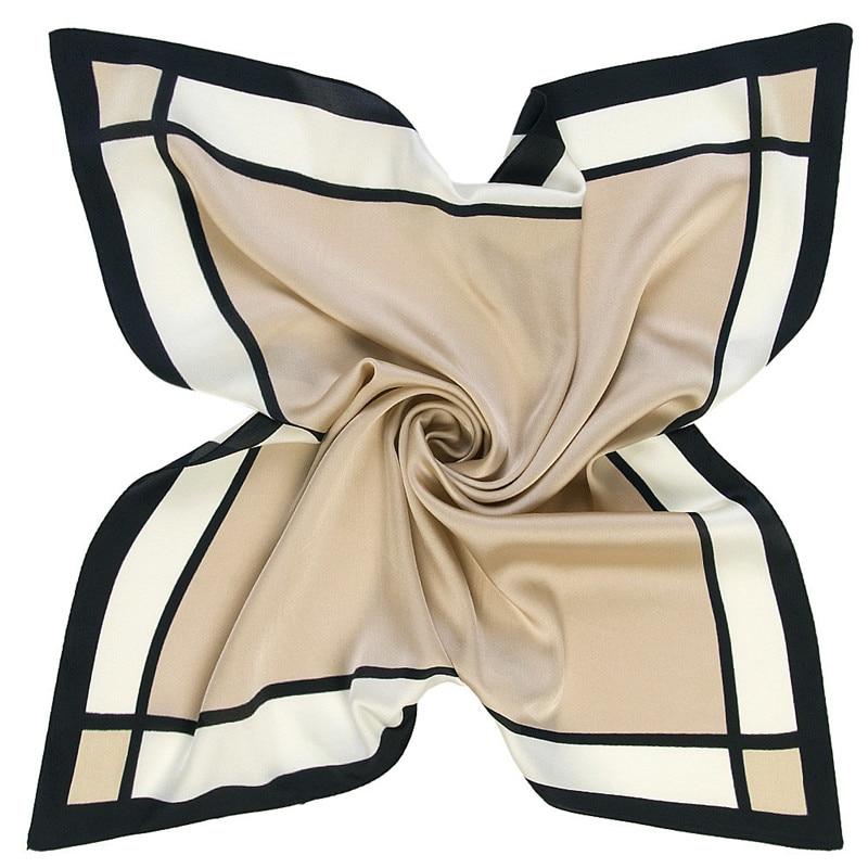 60cm*60cm 2019 New Striped Plaid Solid Color Women Luxury Brand Twill Silk Scarf Small Square Scarves Hijab Headband