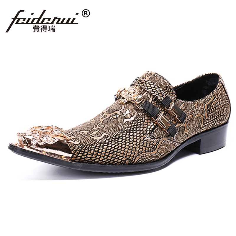 Plus Size Luxury Pointed Toe Slip on Man Metal Tipped Party Loafers Genuine Leather Python Pattern Men's Casual Shoes SL418 недорго, оригинальная цена