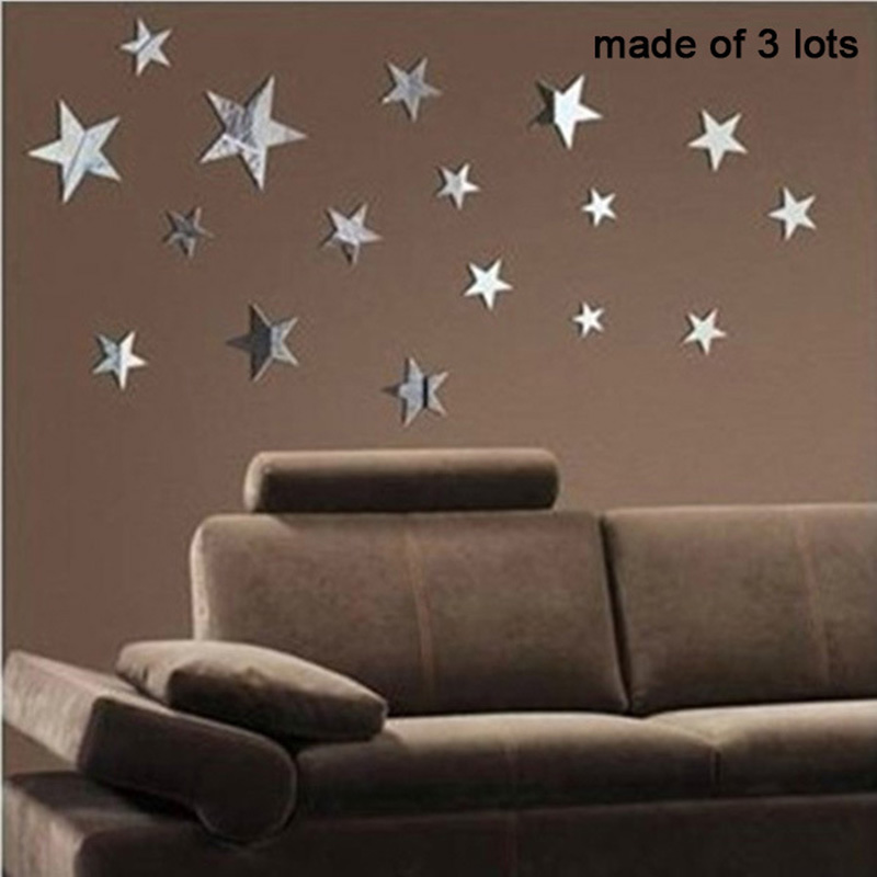 12Pcs/set Star Shape 3D Acrylic Wall Stickers Living Room Bed Room ...