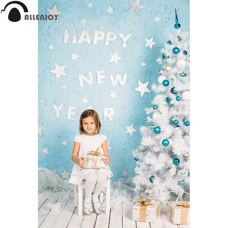 Allenjoy Christmas tree photography backdrop blue stars new year for kids wood floor custom new Background photobooth photocall allenjoy photographic background blue christmas snowflake floor backdrops for sale photography fantasy professional high quality