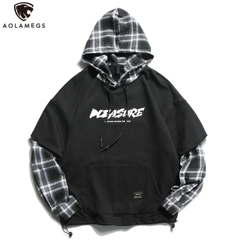 Aolamegs Hoodies Men Fake 2 Pieces Hoodie High Street Pullover Cotton Fashion Hip Hop Casual Big Pockets Spring Streetwear