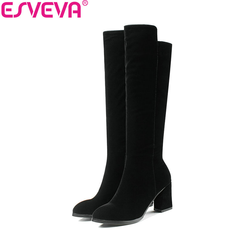 ESVEVA 2017 Women Boots Short Plush Pointed Toe Western Style Knee-high Boots Square High Heel Black Ladies Boots Size 34-40 vallkin 2018 women boots elegant pointed toe square high heels ankle boots short plush pu lining black ladies boots size 34 42