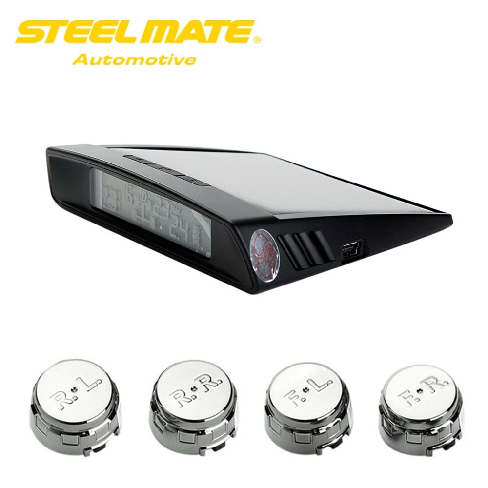 Steelmate TP-S2 TPMS  Car Tire Pressure Monitoring System Car Alarm System Diagnostic Tool with LCD Display 4 Valve-cap Sensors