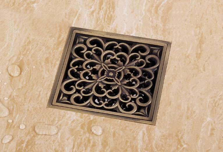 Free shipping 10x10cm brass floor drain with function of Deodorization antique bronze drainer DR001 free shipping antique bronze bath craved floor drain bath washing drainer