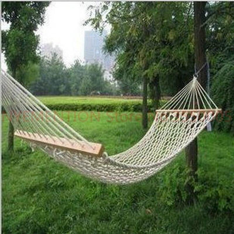 Maille simple coton bois bâton coton corde balançoire hamac intérieur Double hamac Net Camping meubles Moveis Parachute 2 pièces