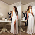 Robe De Mariage Beach Wedding Dresses Plus Size 2016 Spaghetti Straps Backless Side Split Sexy Bridal Dress Gowns Custom Made