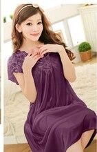 Бесплатная доставка женщин кружево сексуальная ночная рубашка девушки Большой размер халат больших размеров пижамы ночной рубашке Y02-3