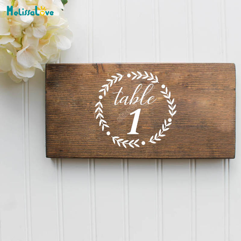 Custom Wedding Table Number Party Decor Sticker Vinyl Waterproof Laurel Wreath Decal Reception Sign B289