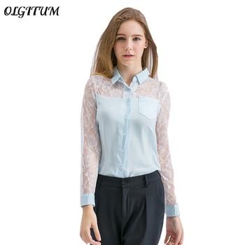 b534ff22068 2019 сезон  весна–лето Новая модная женская блузка шифоновая кружевная  сшивка пикантные рубашка с длинным рукавом Для женщин сплошной цвет х.