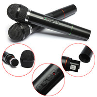 2 Mic With Receiver For Karaoke Dual Cordless Wireless Handheld Microphone DJ Sing Songs Microphones Mobility Affordable
