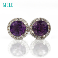 Natural Amethyst Silver Earring Round 6mm Tiny But Lovely For Lovely Girls Fashion Jewelry For Youny