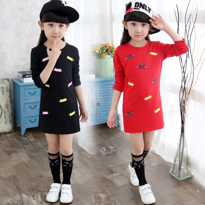 NEW Fashion 3Y-12Y school girls blouse long sleeve shirts for girls cotton children shirts long section top girl shirt