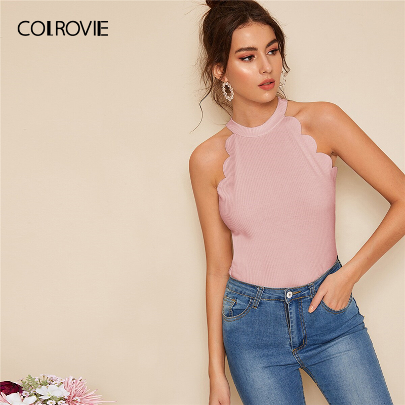 COLROVIE Pink Solid Scallop Trim Rib Knit Halter Elegant   Tank     Top   Women Clothes 2019 Summer Sleeveless Korean Style Slim Shirts