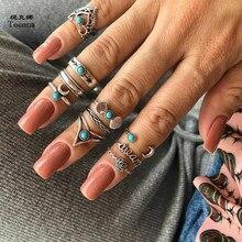 Tocona 10pcs/Set Vintage Antique Silver Color Flower Moon Crown Letter Finger Midi Knuckle Rings Set for Women Boho Jewelry 6425