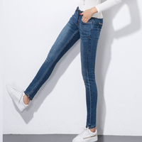 Benevolent Monkey 100% cotton red selvedge denim jeans women high elastic slim, slim leg low waist jeans