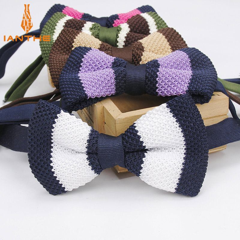 Brand New Style Mens Knit Bowtie Adjustable Butterfly For Men Neckwear Bowties Designer Knitting Knitted Vintage Stripe Bow Tie