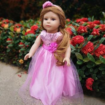 Fashion brown hair Girl reborn Doll Waterproof body 18 inch vinyl Princess baby Dolls Kids Bebe Reborn Toys For children gift