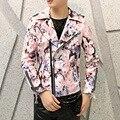 Моды для мужчин кожаная куртка мужской печать gaux мех ИСКУССТВЕННАЯ кожа slim fit пальто го куртку байкера сценическое шоу костюм W50
