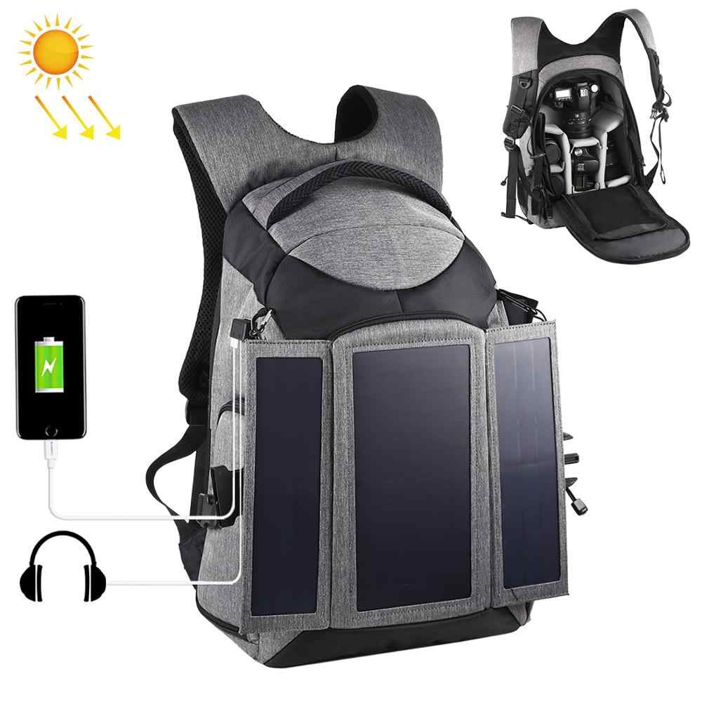 PULUZ Outdoor Professional photographic Accessories Solar Backpack Waterproof Dual Shoulder Camera Bag Anti-theft Photo backpack