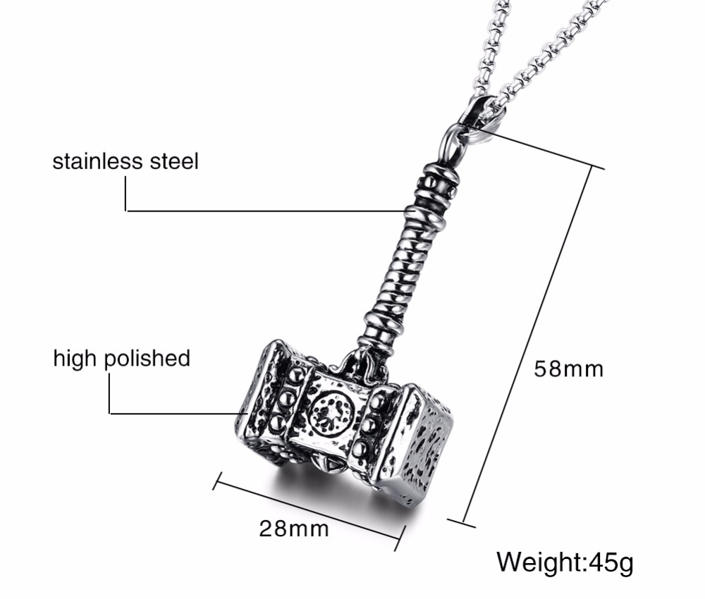 Mens Solid Viking Thors Hammer Pendant Necklace Stainless Steel Vintage Mjolnir Norse Jewelry collares collier colar kolye collane choker 14