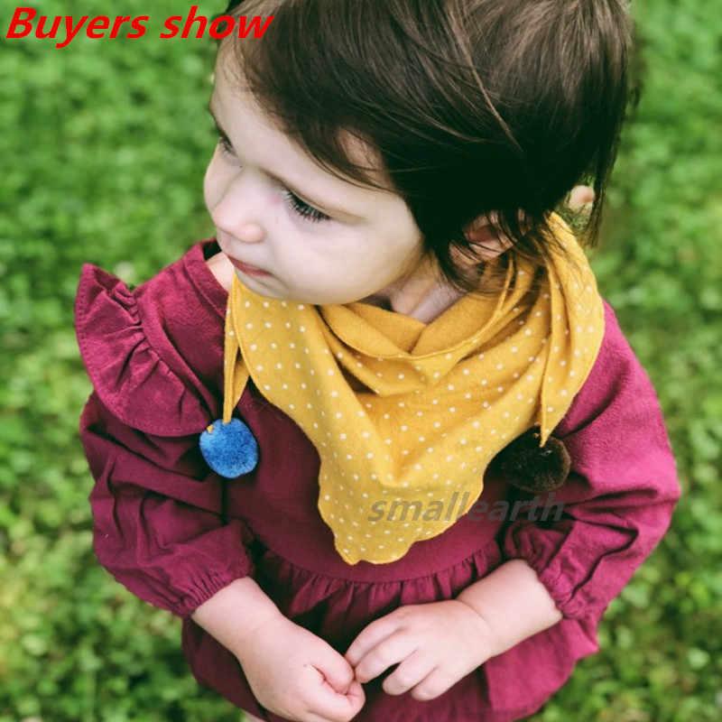 אביב תינוק בנות דוט משובץ משולש צעיפי סתיו חורף בני בנות צעיף ילדי כותנה צוואר קולרים חם ילדי מטפחת